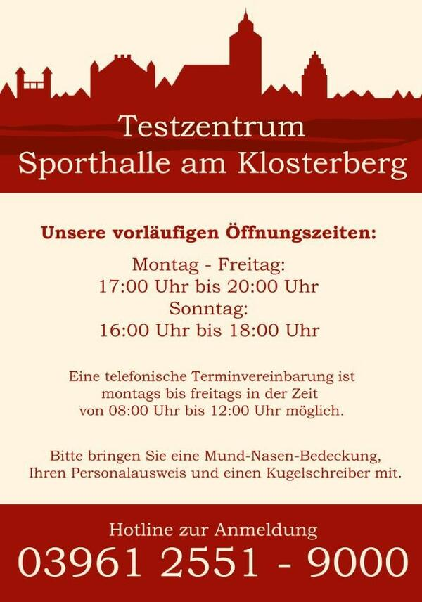 Flyer Testzentrum am Klosterberg